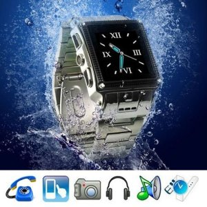 Waterproof Stainless steel 1.5 Inch Touch Screen Watch Moblie Phone